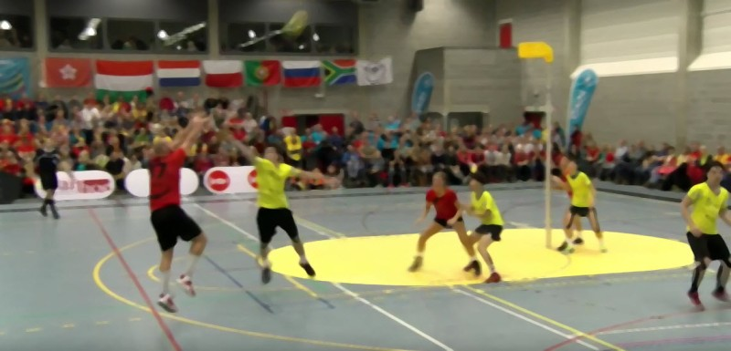 Belgium score against Chinese Taipei at the 2015 World Korfball Championships in Belgium